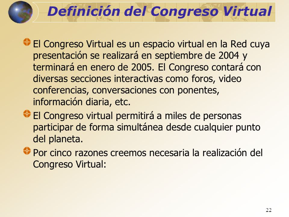 Definición del Congreso Virtual