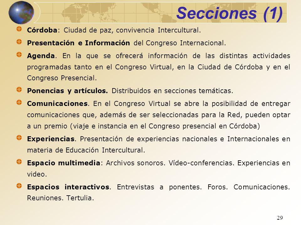 Secciones (1) Córdoba: Ciudad de paz, convivencia Intercultural.