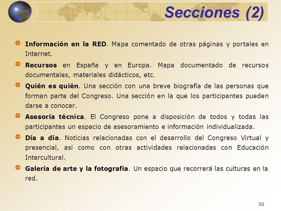 Secciones (2) Información en la RED. Mapa comentado de otras páginas y portales en Internet.