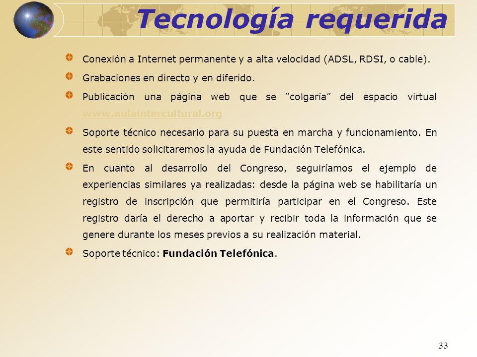 Tecnología requerida Conexión a Internet permanente y a alta velocidad (ADSL, RDSI, o cable). Grabaciones en directo y en diferido.