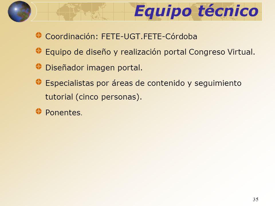 Equipo técnico Coordinación: FETE-UGT.FETE-Córdoba