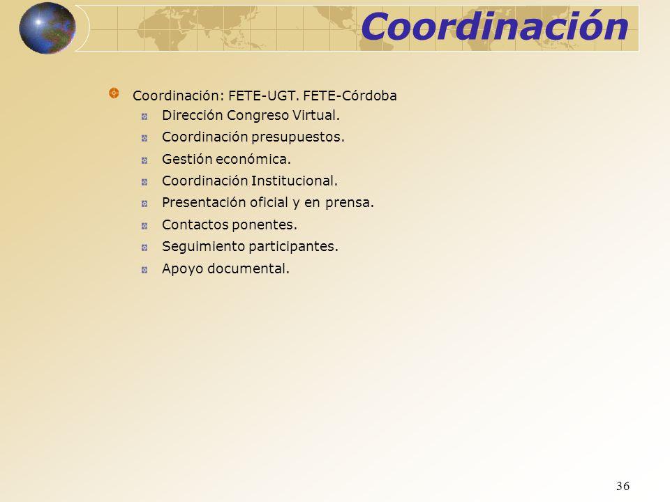 Coordinación Coordinación: FETE-UGT. FETE-Córdoba