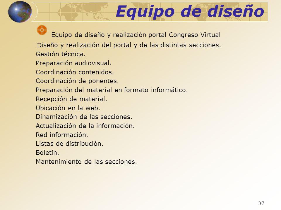 Equipo de diseño Equipo de diseño y realización portal Congreso Virtual. Diseño y realización del portal y de las distintas secciones.