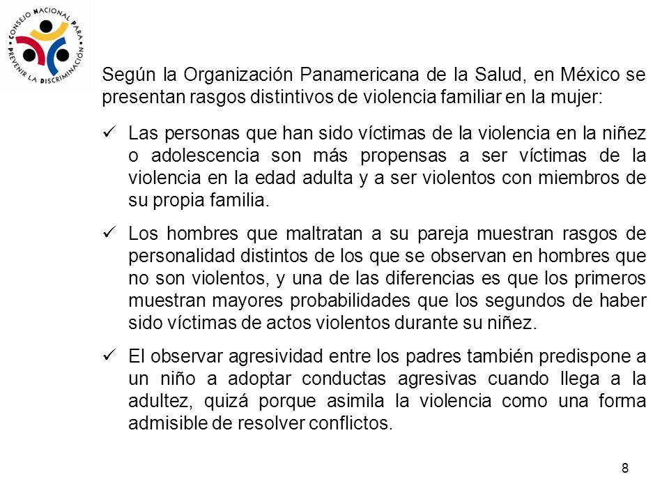 Según la Organización Panamericana de la Salud, en México se presentan rasgos distintivos de violencia familiar en la mujer: