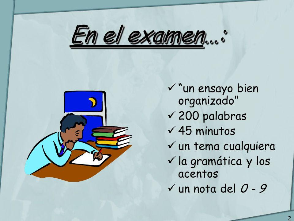 En el examen…: un ensayo bien organizado 200 palabras 45 minutos