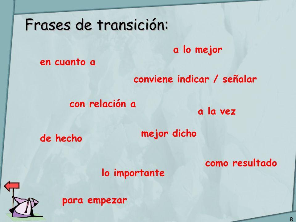 Frases de transición: a lo mejor en cuanto a