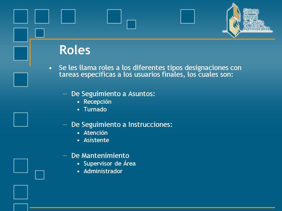 Roles Se les llama roles a los diferentes tipos designaciones con tareas especificas a los usuarios finales, los cuales son: