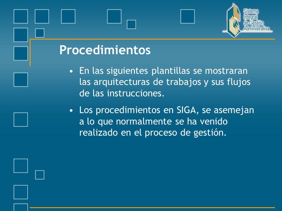 Procedimientos En las siguientes plantillas se mostraran las arquitecturas de trabajos y sus flujos de las instrucciones.