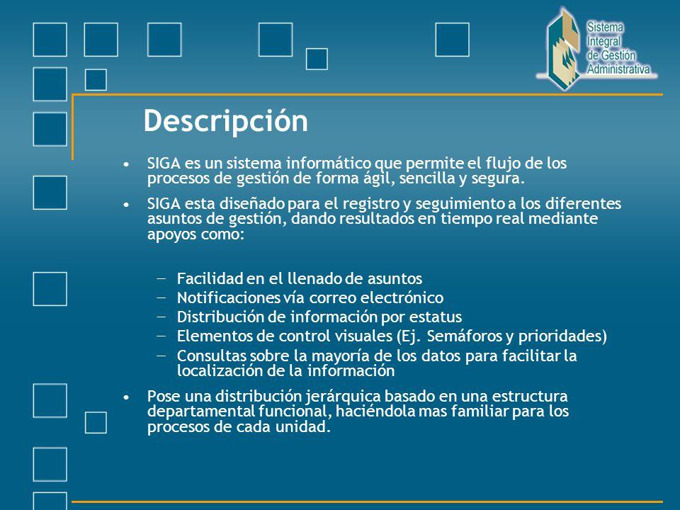 Descripción SIGA es un sistema informático que permite el flujo de los procesos de gestión de forma ágil, sencilla y segura.