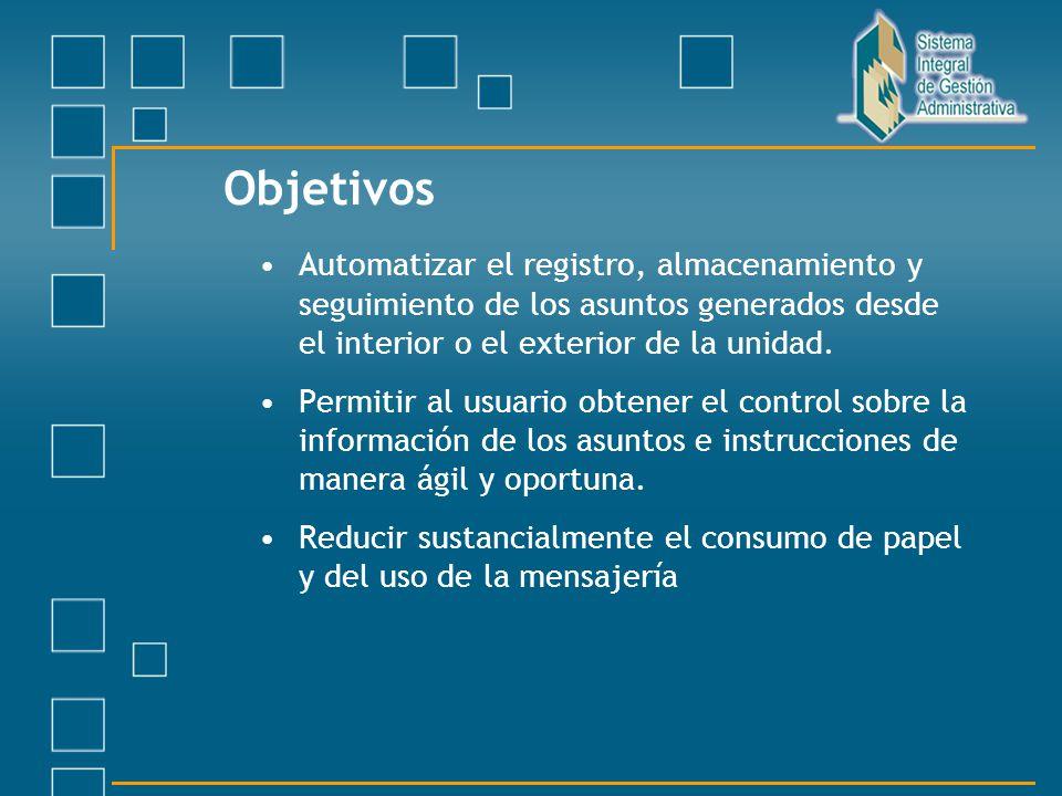 Objetivos Automatizar el registro, almacenamiento y seguimiento de los asuntos generados desde el interior o el exterior de la unidad.