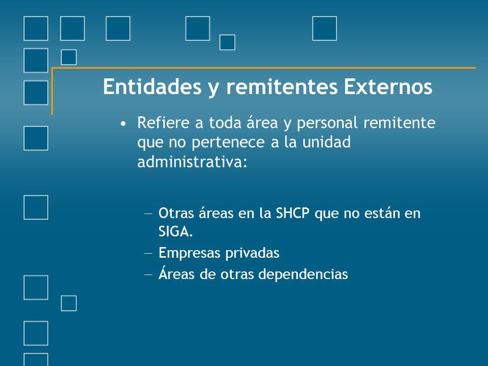 Entidades y remitentes Externos