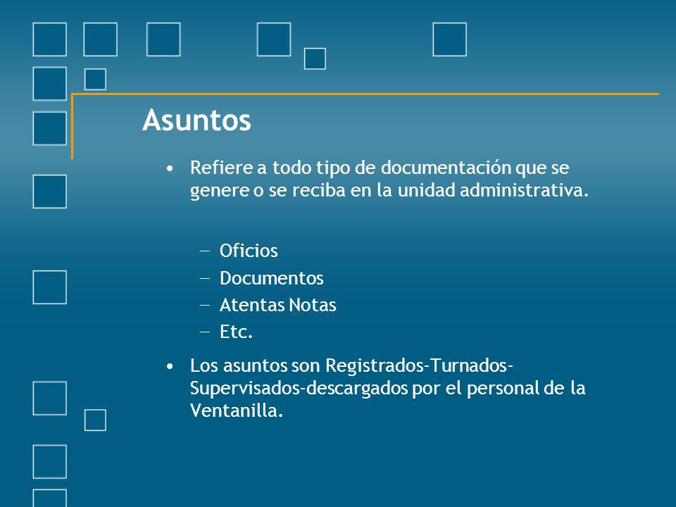 Asuntos Refiere a todo tipo de documentación que se genere o se reciba en la unidad administrativa.
