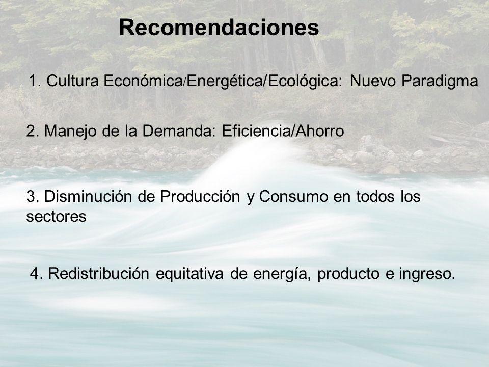 Recomendaciones Cultura Económica/Energética/Ecológica: Nuevo Paradigma. 2. Manejo de la Demanda: Eficiencia/Ahorro.