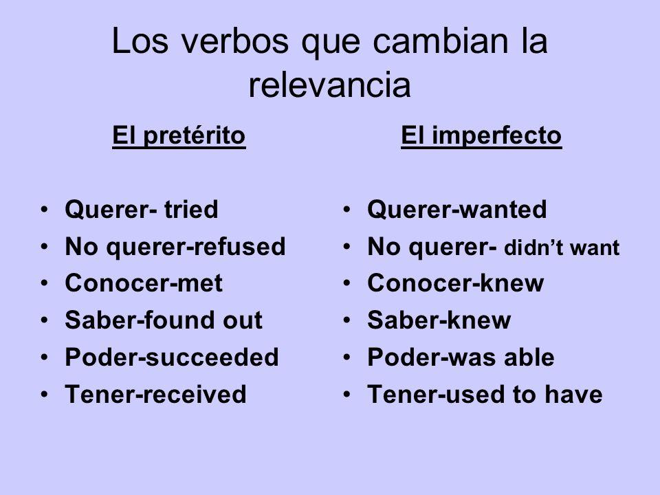 Los verbos que cambian la relevancia