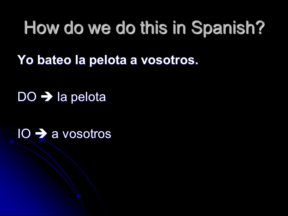 How do we do this in Spanish