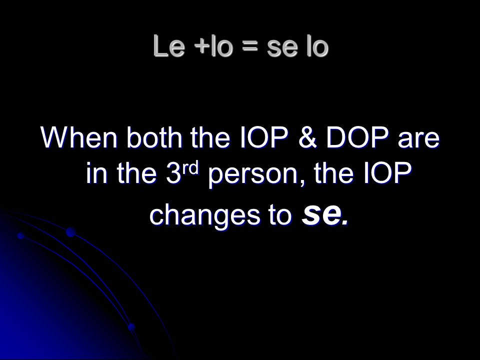 When both the IOP & DOP are in the 3rd person, the IOP changes to se.