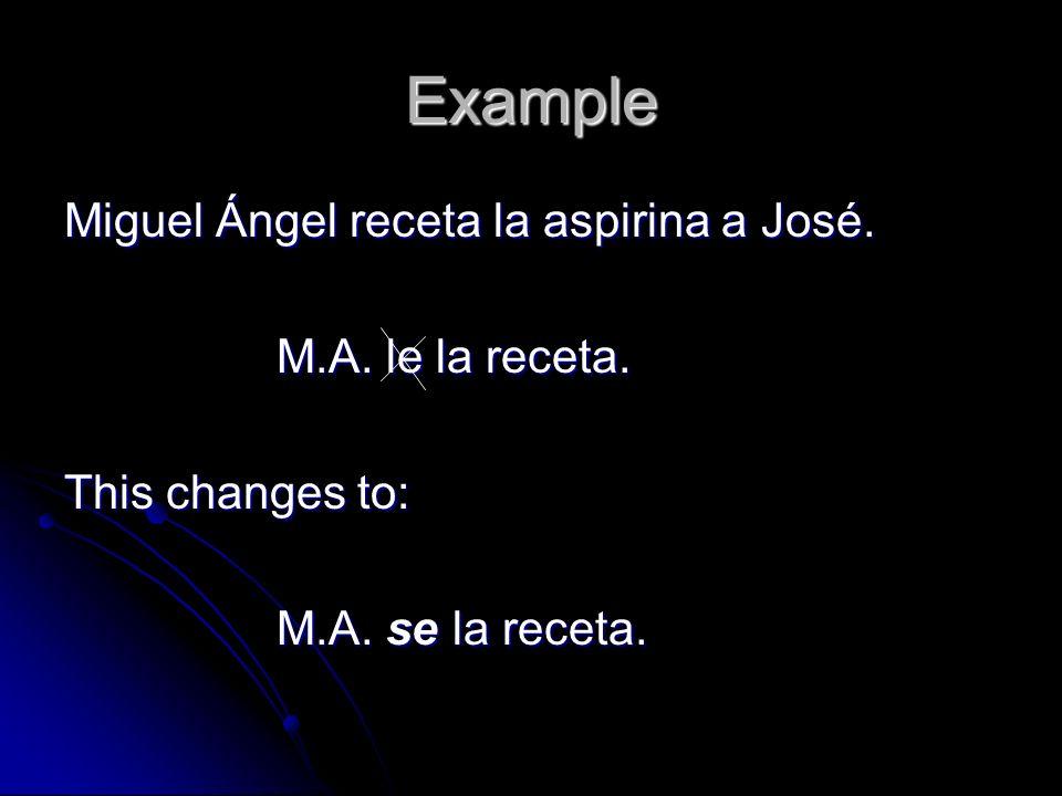 Example Miguel Ángel receta la aspirina a José. M.A. le la receta.