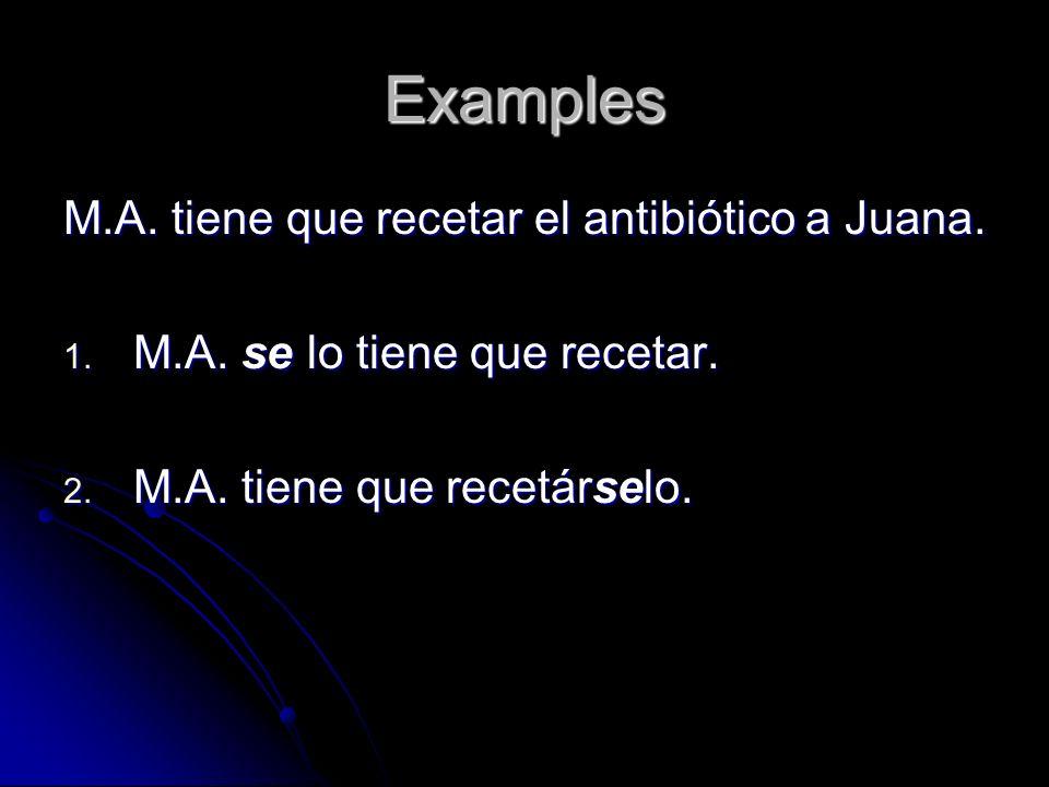 Examples M.A. tiene que recetar el antibiótico a Juana.