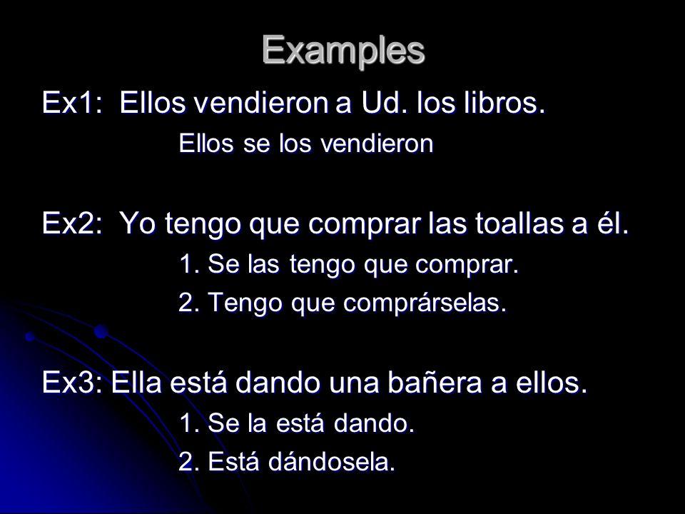 Examples Ex1: Ellos vendieron a Ud. los libros.