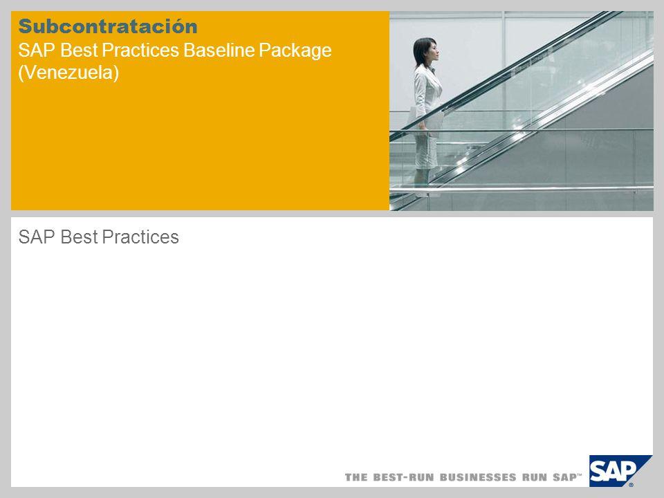 Subcontratación SAP Best Practices Baseline Package (Venezuela)