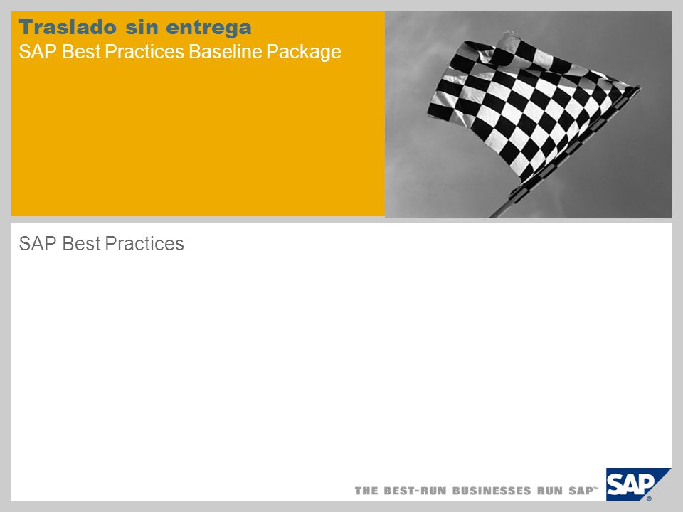 Traslado sin entrega SAP Best Practices Baseline Package