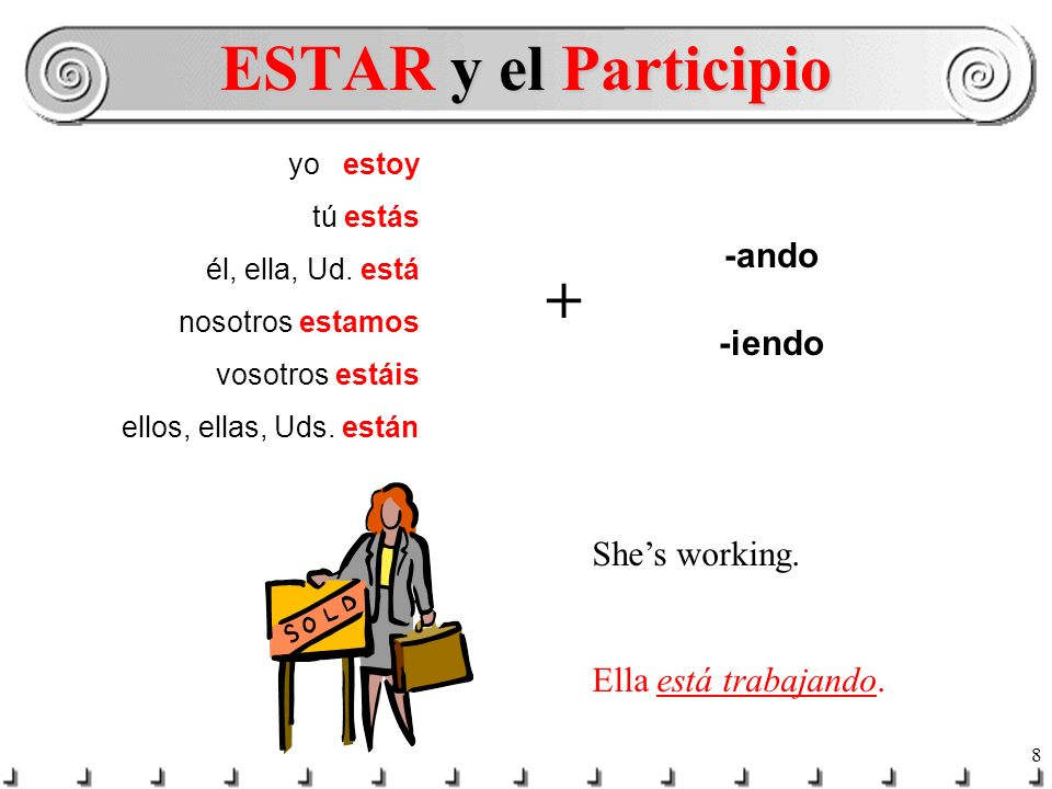 ESTAR y el Participio + -ando -iendo She's working.