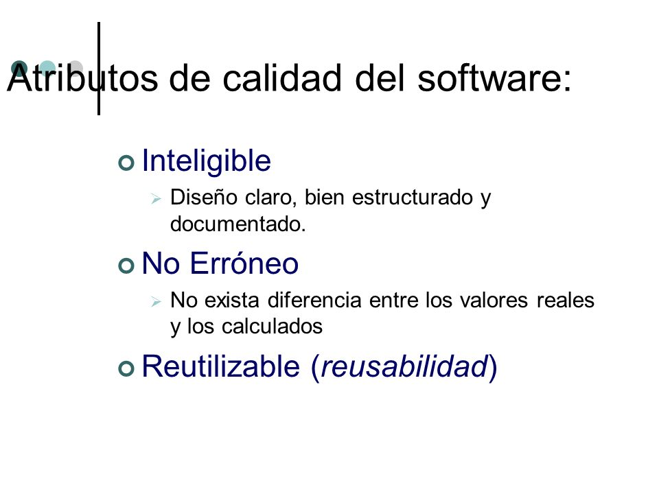 Atributos de calidad del software: