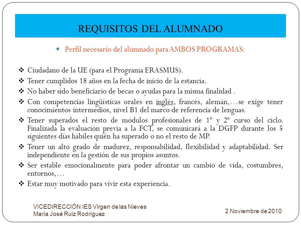 REQUISITOS DEL ALUMNADO