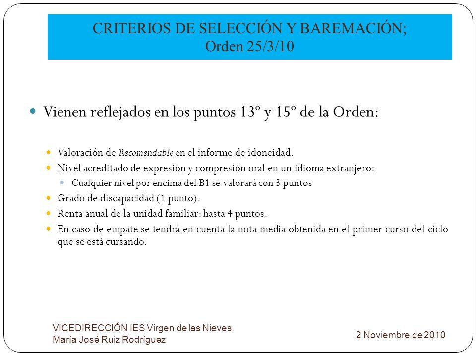CRITERIOS DE SELECCIÓN Y BAREMACIÓN; Orden 25/3/10