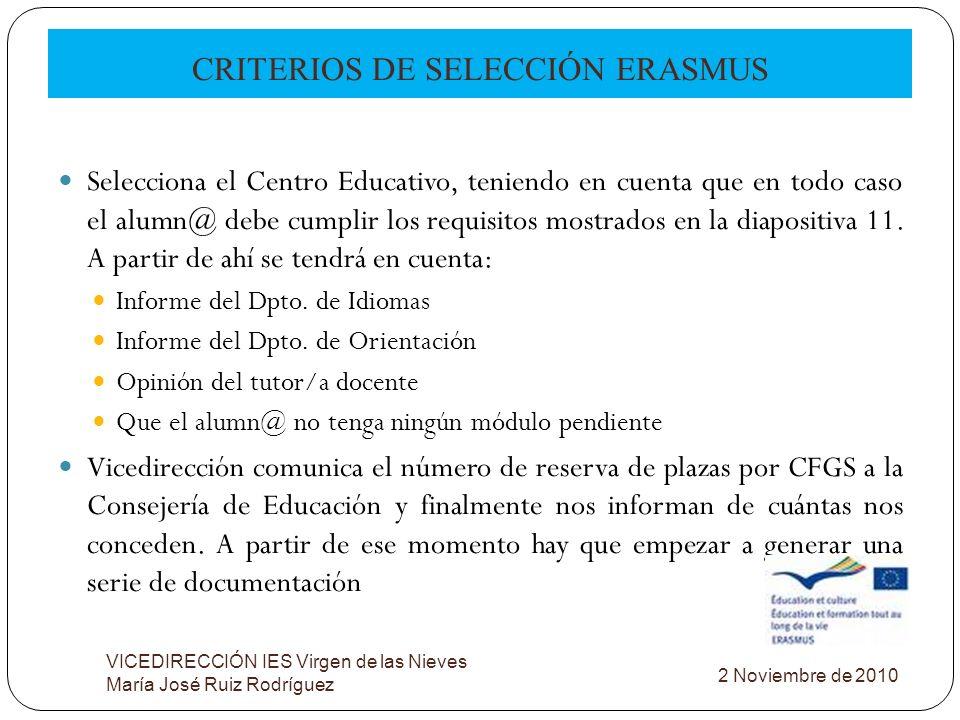 CRITERIOS DE SELECCIÓN ERASMUS