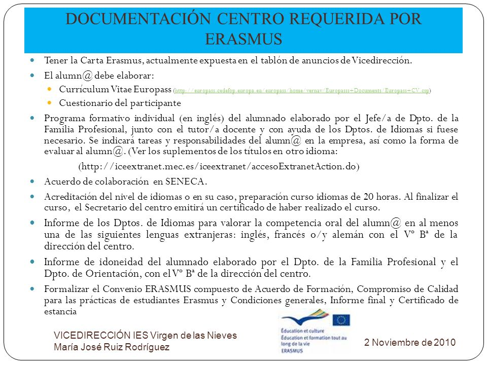 DOCUMENTACIÓN CENTRO REQUERIDA POR ERASMUS