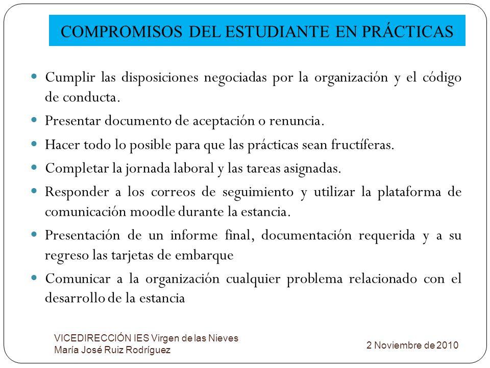 COMPROMISOS DEL ESTUDIANTE EN PRÁCTICAS