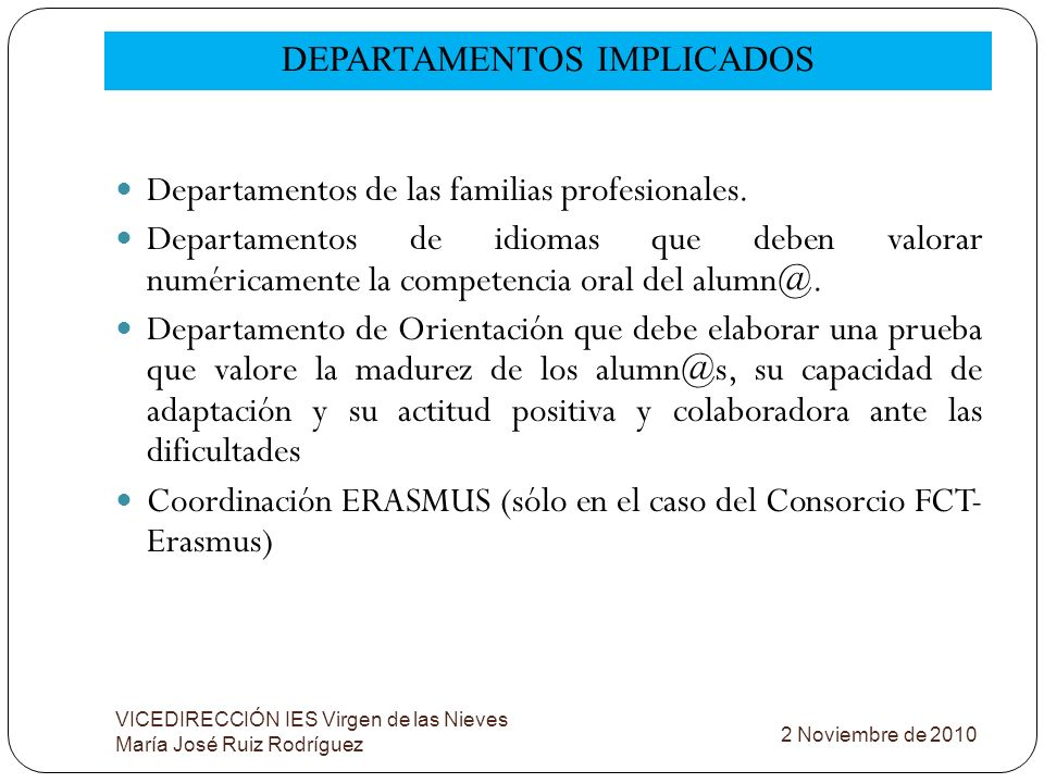 DEPARTAMENTOS IMPLICADOS