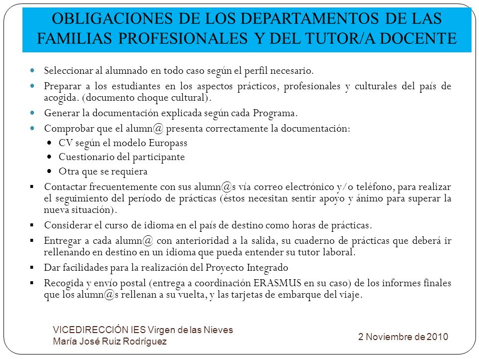 OBLIGACIONES DE LOS DEPARTAMENTOS DE LAS FAMILIAS PROFESIONALES Y DEL TUTOR/A DOCENTE