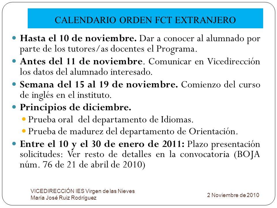 CALENDARIO ORDEN FCT EXTRANJERO