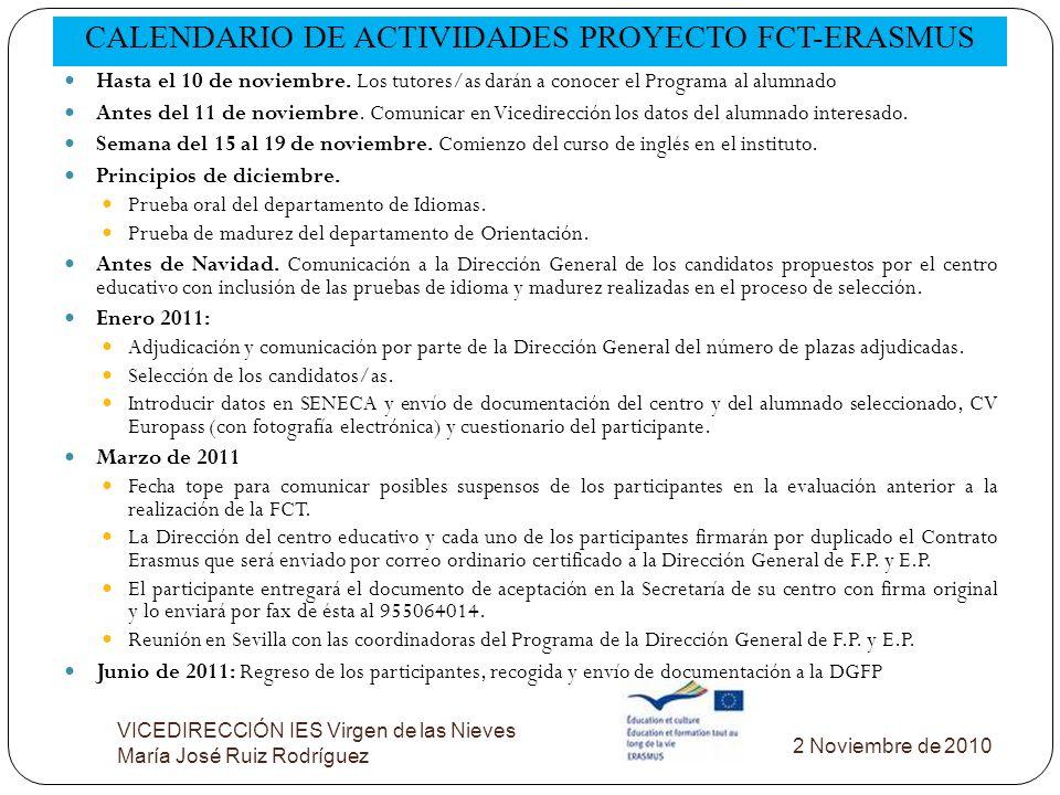 CALENDARIO DE ACTIVIDADES PROYECTO FCT-ERASMUS