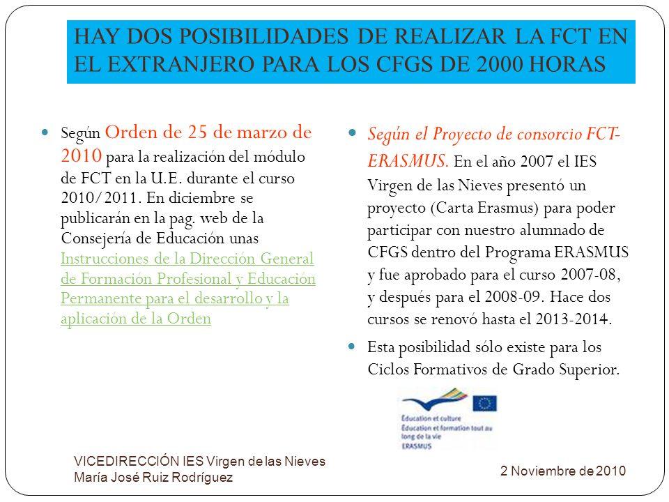 HAY DOS POSIBILIDADES DE REALIZAR LA FCT EN EL EXTRANJERO PARA LOS CFGS DE 2000 HORAS