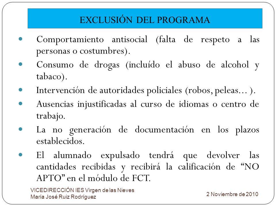 EXCLUSIÓN DEL PROGRAMA