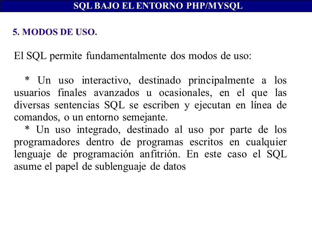 El SQL permite fundamentalmente dos modos de uso: