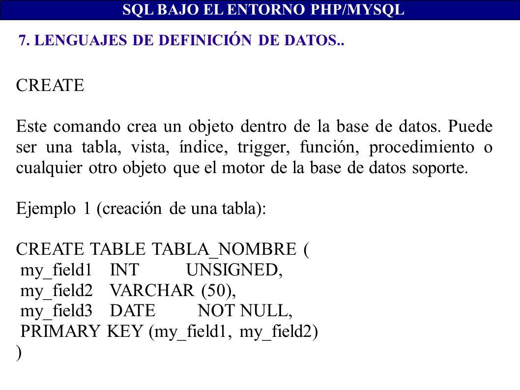 Ejemplo 1 (creación de una tabla): CREATE TABLE TABLA_NOMBRE (