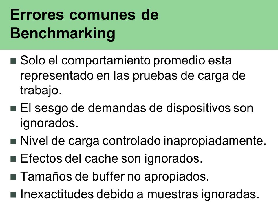 Errores comunes de Benchmarking