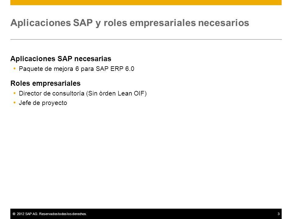 Aplicaciones SAP y roles empresariales necesarios
