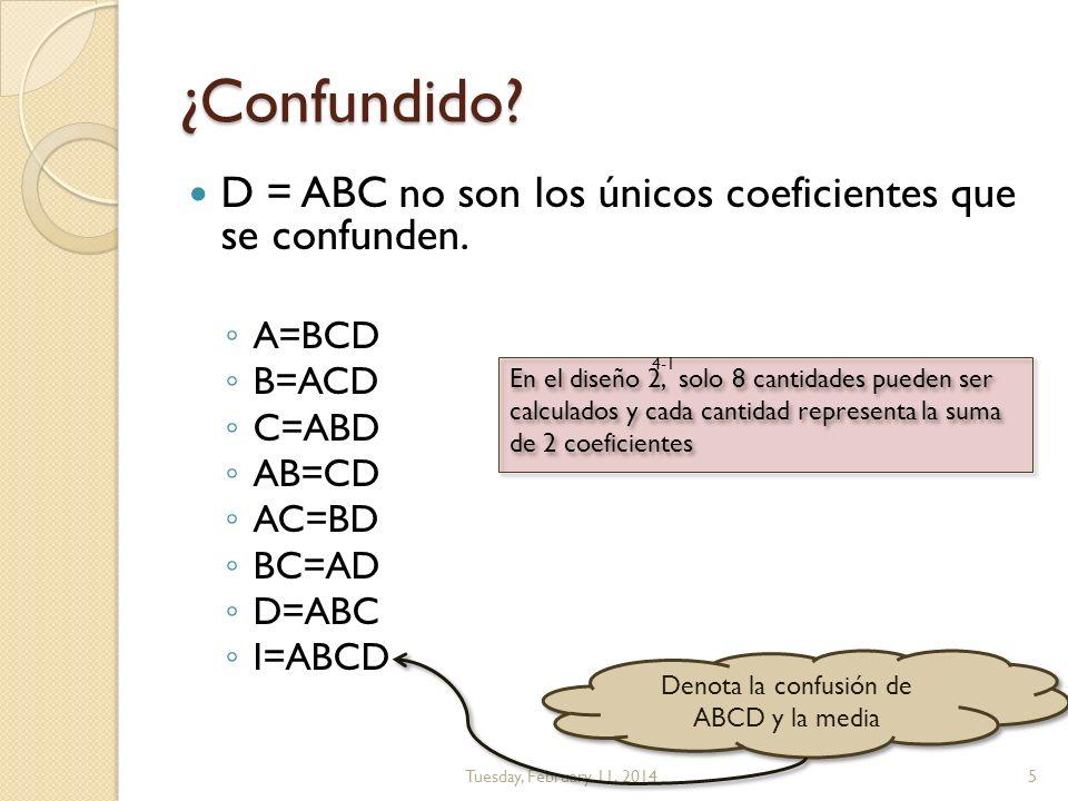 Denota la confusión de ABCD y la media