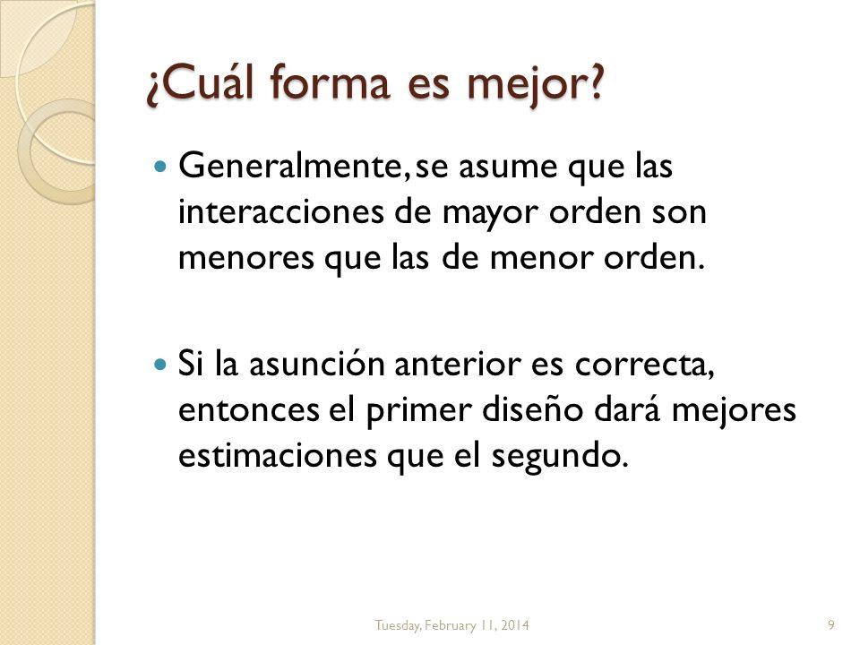 ¿Cuál forma es mejor Generalmente, se asume que las interacciones de mayor orden son menores que las de menor orden.