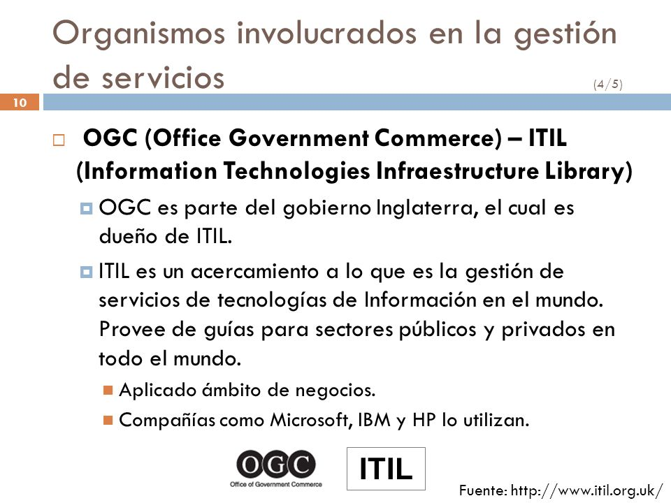 Organismos involucrados en la gestión de servicios (4/5)