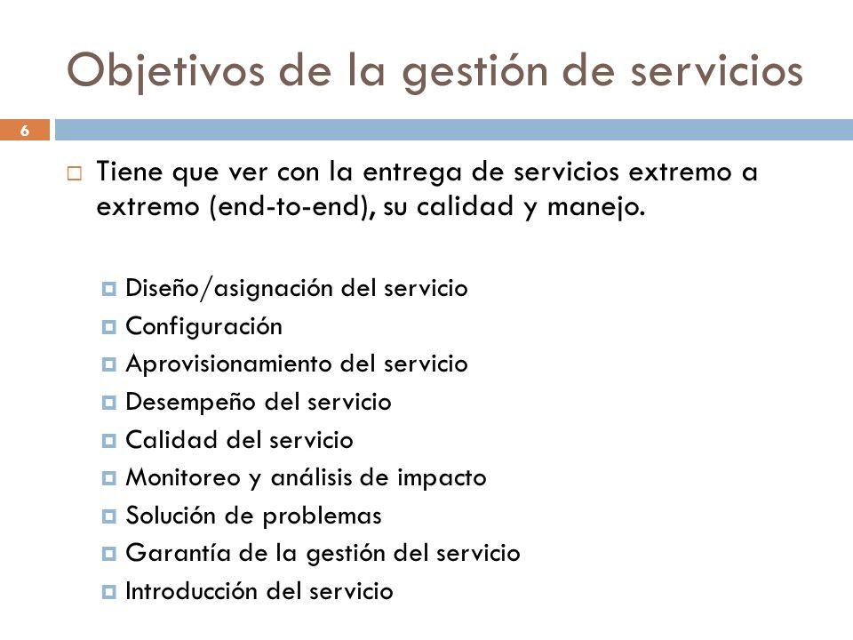 Objetivos de la gestión de servicios