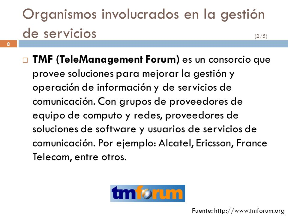 Organismos involucrados en la gestión de servicios (2/5)