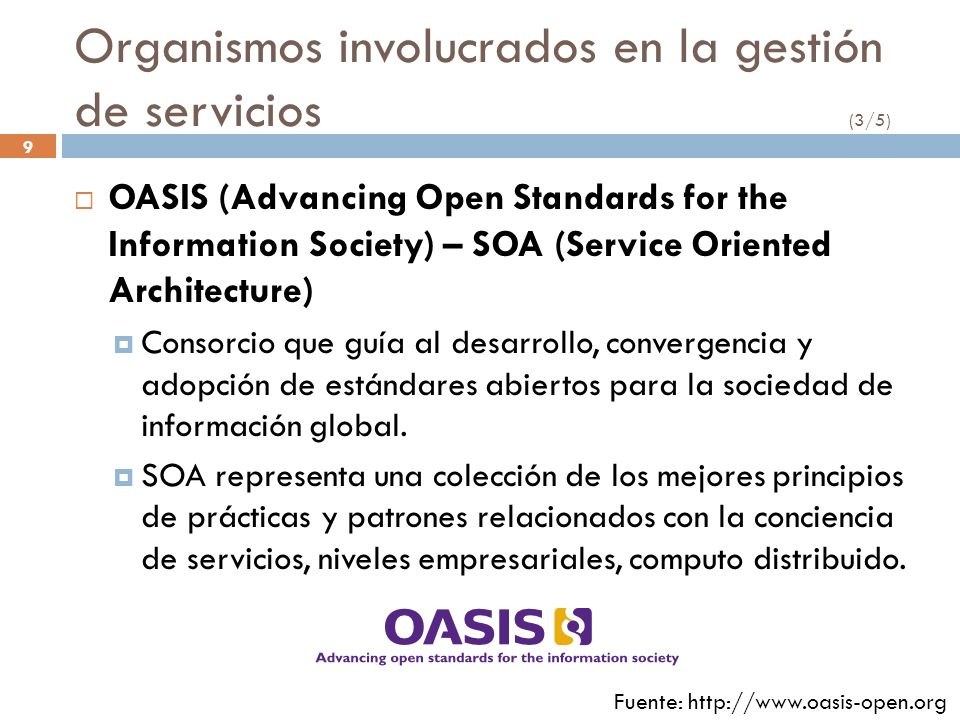 Organismos involucrados en la gestión de servicios (3/5)