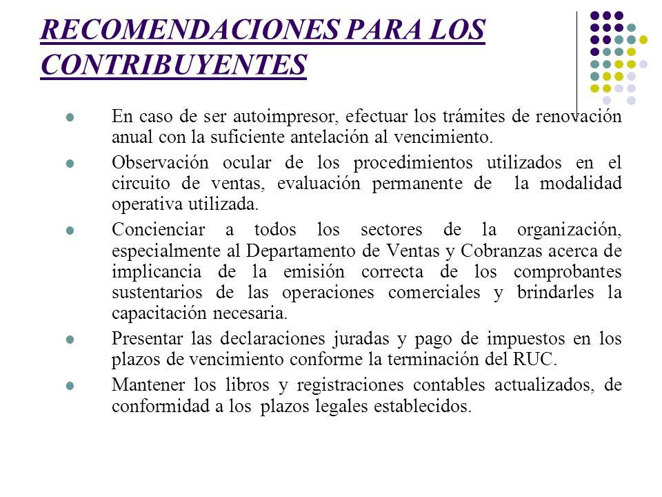 RECOMENDACIONES PARA LOS CONTRIBUYENTES