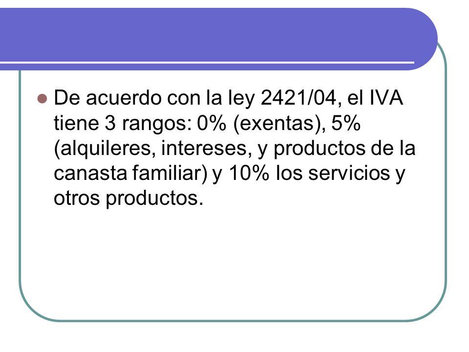 De acuerdo con la ley 2421/04, el IVA tiene 3 rangos: 0% (exentas), 5% (alquileres, intereses, y productos de la canasta familiar) y 10% los servicios y otros productos.